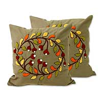 Cotton cushion covers, 'Floral Kuta' (pair) - Cotton cushion covers (Pair)