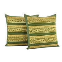 Cotton cushion covers, 'Enchanted Thai Jungle' (pair) - Thai Green and Yellow Brocade Cushion Covers (Pair)