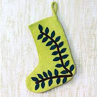 Wool Christmas stocking, 'Tropical Holiday' - Green Wool Applique Christmas Stocking