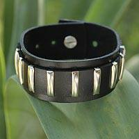Leather wristband bracelet, 'Thai Melody' - Leather Wristband Bracelet with Nickel Plated Accents
