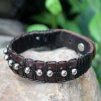 Leather wristband bracelet, 'Moon Balloons' - Brown Leather Wristband Bracelet with Nickel Plated Accents