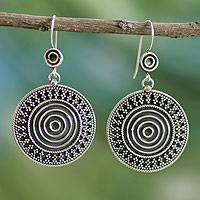 Sterling silver dangle earrings, 'Hypnotic Sun of India' - Hand Crafted Sterling Silver Dangle Earrings
