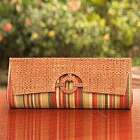 Buriti palm clutch handbag, 'Tropical Brazil' - Unique Women's Palm Leaf Clutch Bag