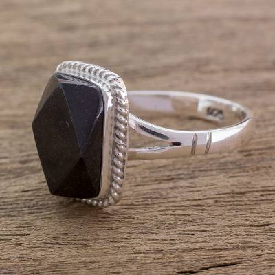 Black jade cocktail ring, 'Black Maya Princess' - Black Jade Ring