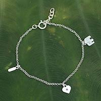 Tourmaline charm bracelet,