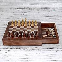 Wood chess and backgammon set,