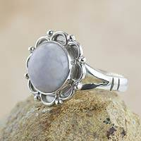 Lilac jade flower ring, 'Lilac Dahlia' - Guatemalan Hand Crafted Lilac Jade Ring