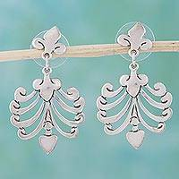 Sterling silver heart earrings, 'Fluttering Hearts' - Sterling silver heart earrings