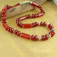 Carnelian strand necklace, 'Radiant Glow' - Carnelian Beaded Strand Necklace from India