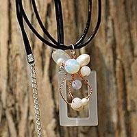 Pearl and agate pendant necklace, 'Balloons' - Pearl and Agate Pendant Necklace