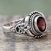 Garnet cocktail ring, 'Traditional Romantic' - Traditional Style Silver and Garnet India Cocktail Ring