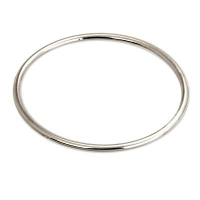 Sterling silver bangle bracelet, 'Moon Glow' - Unique Sterling Silver Bangle Bracelet
