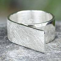 Sterling silver band ring, 'Tenochca Paths' - Sterling silver band ring