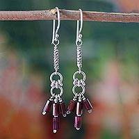 Garnet dangle earrings, 'Modern Maharashtra' - Garnet Dangle Earrings from India