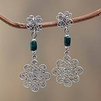 Chrysocolla filigree flower earrings, 'Piura Blooms' - Filigree Flower Earrings in Sterling Silver with Chrysocolla