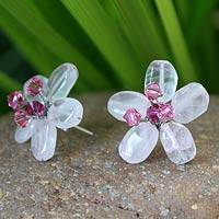 Rose quartz button earrings, 'Crystal Flower' - Rose Quartz Beaded Button Earrings