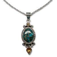 Citrine pendant necklace, 'Resplendent in Blue' - Citrine and Blue Turquoise 925 Silver Necklace from India