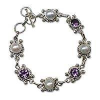 Cultured pearl and amethyst link bracelet, 'Scintillating Realm' - Indian Amethyst and Pearl 925 Sterling Silver Link Bracelet