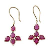 18K gold and ruby earrings 'Ruby Petals' - Indian Ruby Earrings in 18k Yellow Gold