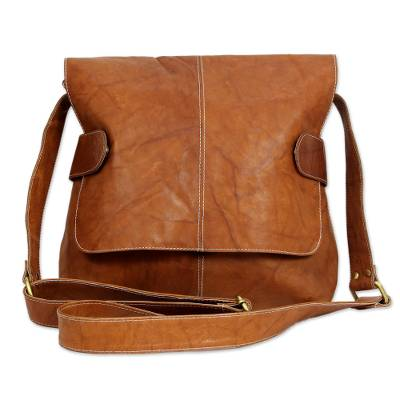 Leather shoulder bag 'Honeyed Brown' - Warm Brown Leather Shoulder Bag
