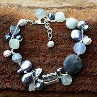 Pearl and moonstone beaded bracelet, 'Midnight Sea' - Beaded Quartz and Pearl Bracelet