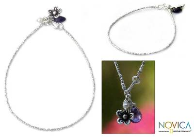 Cultured pearl and amethyst floral bracelet, 'Blossoming Romance' - Pearl and amethyst floral bracelet