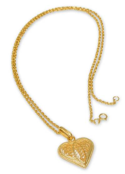 Gold plated filigree pendant necklace, 'Lace Sweetheart' - Gold Plated Filigree Heart Necklace