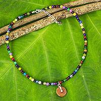 Beaded quartz choker, 'Summertime Rainbow' - Multicolor Handcrafted Quartz Choker with Jade Pendant