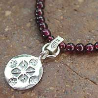Garnet pendant necklace, 'Lucky Charm' - Garnet and Sterling Silver Choker
