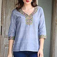 Cotton blouse, 'Gray Floral' - Women's Handwoven Cotton Tunic Top