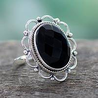 Onyx flower ring, 'Midnight Blossom' - Onyx and Sterling Silver Flower Ring from India