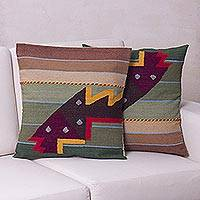 Wool cushion covers, 'Angelfish' (pair) - Geometric Wool Patterned Cushion Covers from Peru (Pair)