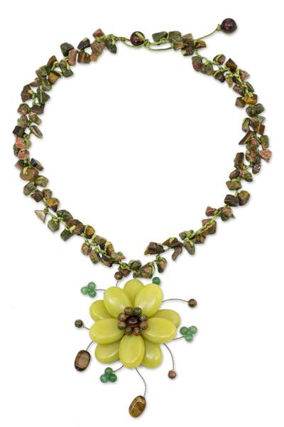 Tiger's eye and unakite choker, 'Yellow Bloom' - Handcrafted Unakite Quartz and Tiger's Eye Choker