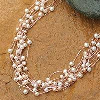 Pearl choker, 'Pink Web of Beauty' (Thailand)