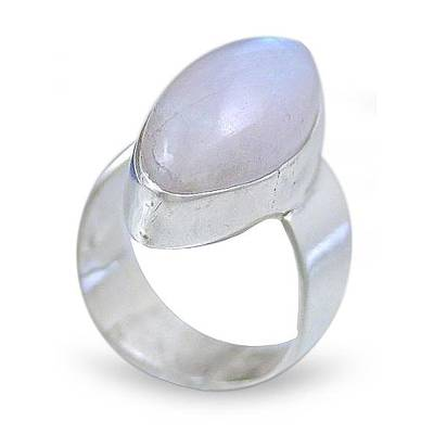Moonstone cocktail ring, 'Asymmetry' - Moonstone Ring Set in Sterling Silver