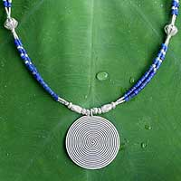 Lapis lazuli pendant necklace, 'Mind Journey' - Silver and Lapis Lazuli Necklace