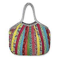 Cotton hobo handbag,