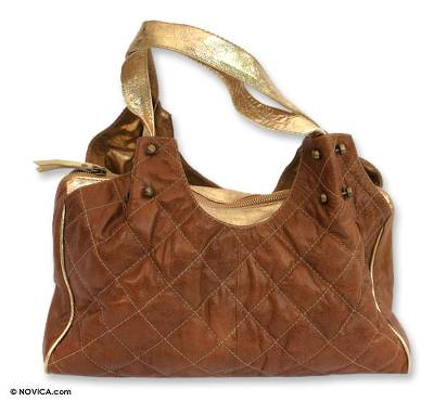 Leather handbag, 'Caramel Success' - Leather handbag