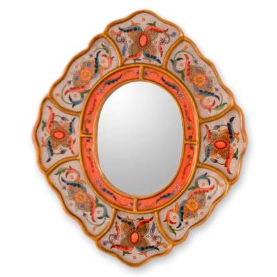 Reverse painted glass mirror, 'Illusions' - Reverse Painted Glass Mirror Handmade in Peru