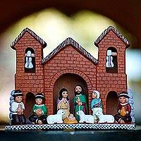 Ceramic nativity scene, 'Mountain Church' - Handcrafted Ceramic Nativity Scene from Peru