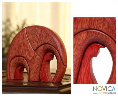 Ishpingo wood statuette, 'Sunset Elephant' - Hand Made Wood Elephant Sculpture from Peru