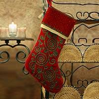 Embroidered stocking,
