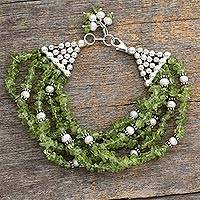 Pearl and peridot beaded bracelet, 'Lime Streamers' - Unique Beaded Peridot and Silver Bracelet