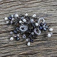 Pearl and smoky quartz brooch pin,