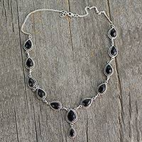 Sterling silver Y-necklace, 'Divine Night' - Indian Jewelry Glass and Sterling Silver Y Necklace