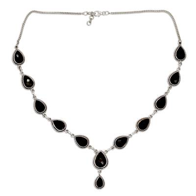 Indian Jewelry Glass and Sterling Silver Y Necklace