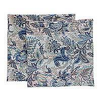 Cotton cushion covers, 'Blue Tropics' (pair) - Pair of All Cotton Blue Floral Cushion Covers