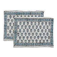 Cotton pillow shams, 'Little Buta' (pair) - All Cotton Pillow Shams in Blue and White Print (Pair)