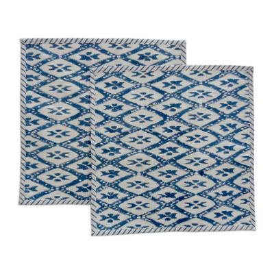 Cotton cushion covers, 'Blue Diamond Lines' (pair) - Block Printed Blue and White Cushion Covers (Pair)