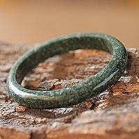 Jade bangle bracelet, 'Circle in the Forest' (8.25 inch) - Fair Trade Good Luck Jade Bangle Bracelet (8.25 Inch)